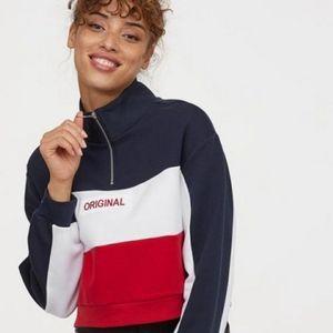 Divided original red white & blue crop sweatshirt